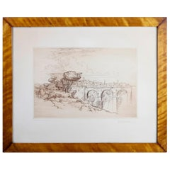 Landscape Etching with Stone Bridge & Figures by Arent Christensen, 20th Century