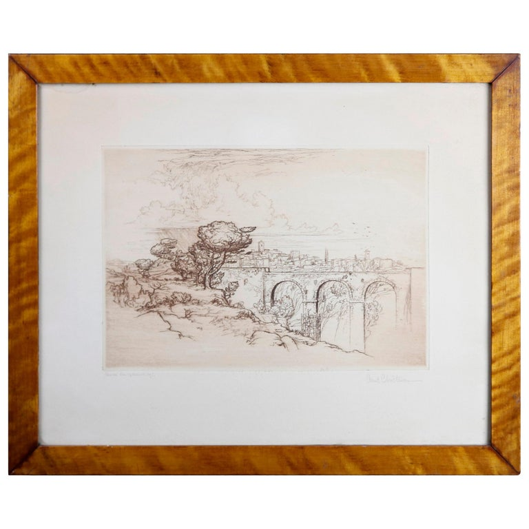Landscape Etching with Stone Bridge & Figures by Arent Christensen, 20th Century For Sale