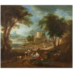 Landscape, Giuseppe Bison 18th Century Oil on Canvas Landscape Painting