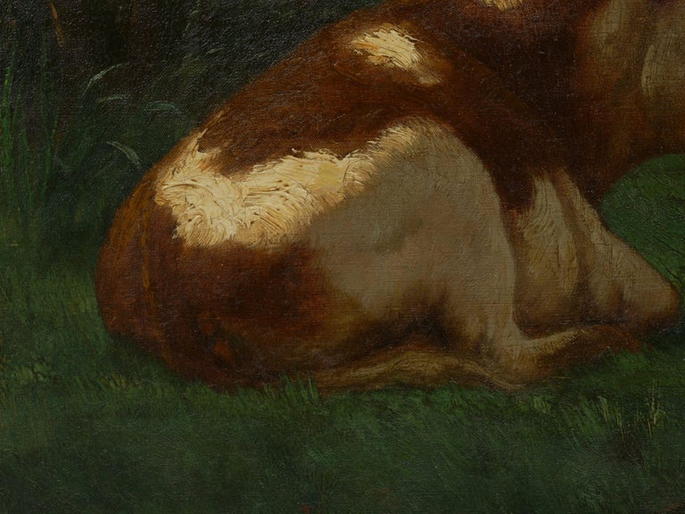 """Landscape of a Resting Bull"" Oil Painting by John Carleton Wiggins 4"