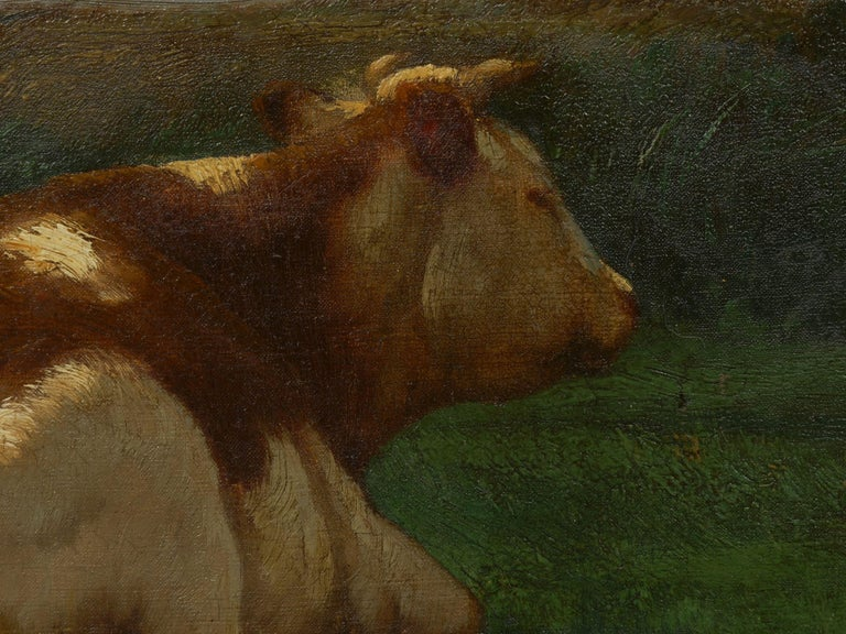 """Landscape of a Resting Bull"" Oil Painting by John Carleton Wiggins 5"