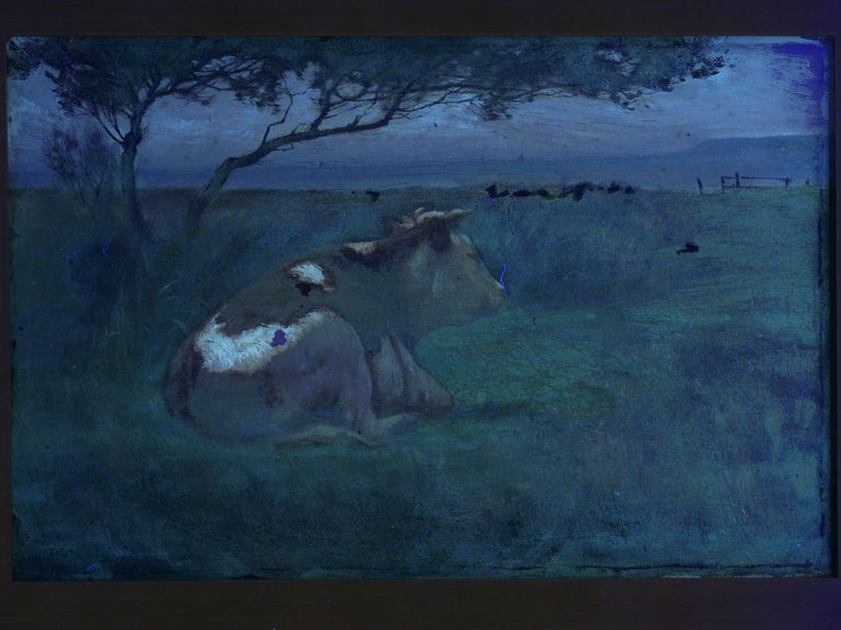 """Landscape of a Resting Bull"" Oil Painting by John Carleton Wiggins 9"