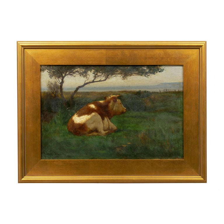 A fine tonalist painting depicting a resting bull in a pastoral landscape overlooking a quiet horizon beneath a large tree. The lighting of the subject is interesting in how the bull is brilliant and the surrounding light fades away into the dark