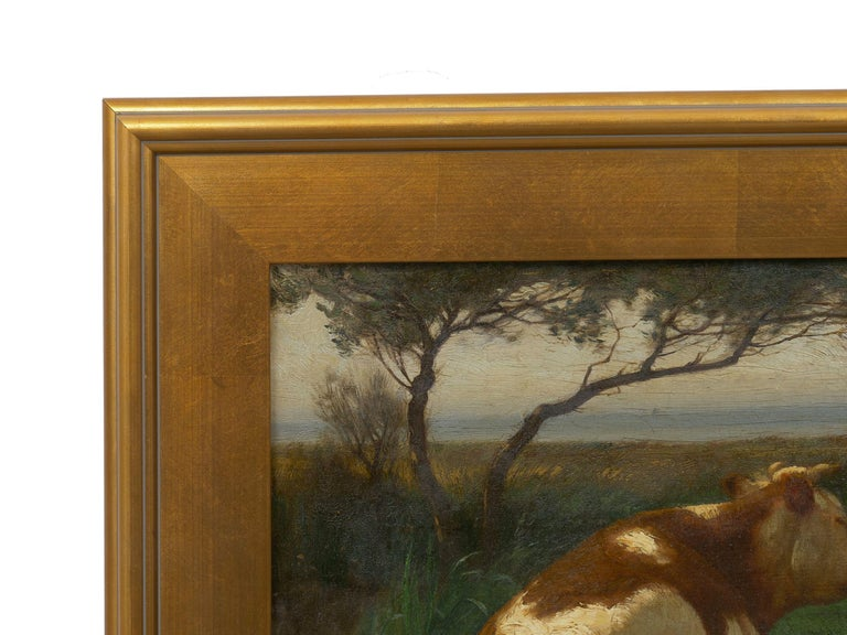 """Landscape of a Resting Bull"" Oil Painting by John Carleton Wiggins In Good Condition In Shippensburg, PA"