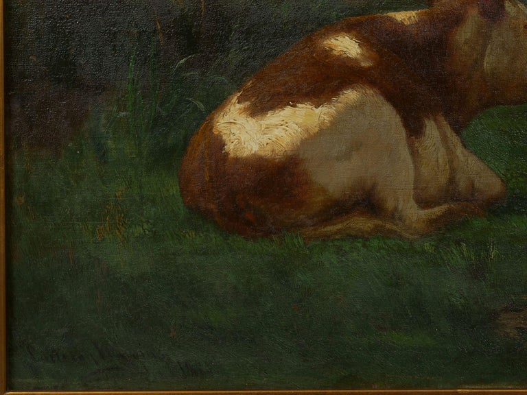 """Landscape of a Resting Bull"" Oil Painting by John Carleton Wiggins 1"
