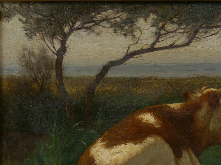 """Landscape of a Resting Bull"" Oil Painting by John Carleton Wiggins 2"