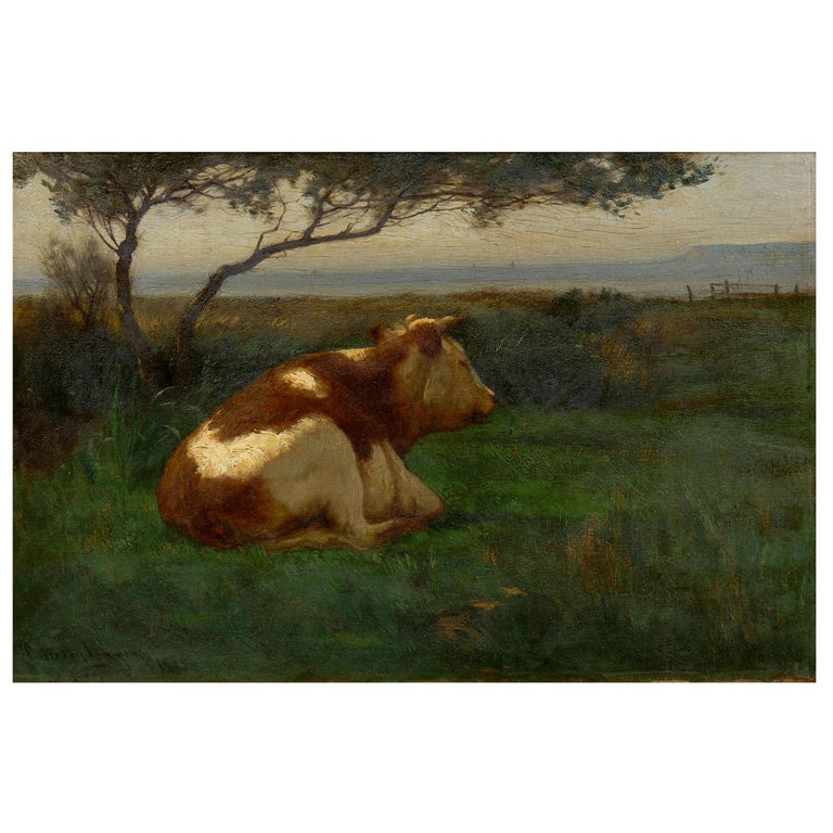 """Landscape of a Resting Bull"" Oil Painting by John Carleton Wiggins"