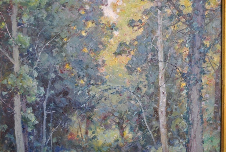 French Provincial Landscape of the Ariege by Albert Regagnon Oil on Canvas For Sale