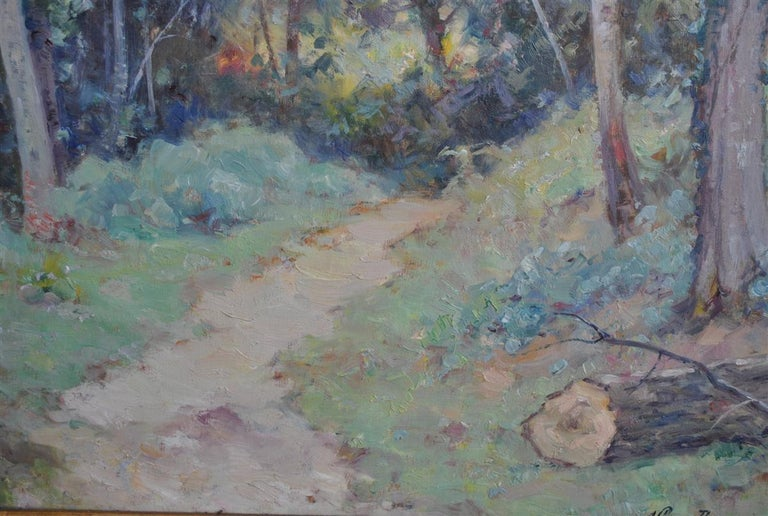 Hand-Painted Landscape of the Ariege by Albert Regagnon Oil on Canvas For Sale