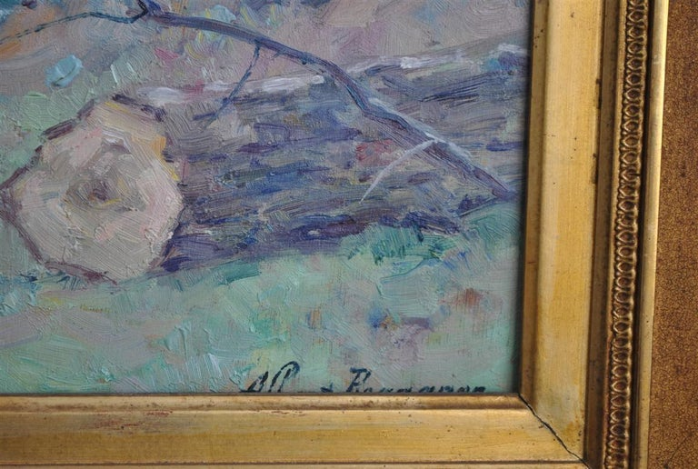 Landscape of the Ariege by Albert Regagnon Oil on Canvas In Good Condition For Sale In Marseille, FR