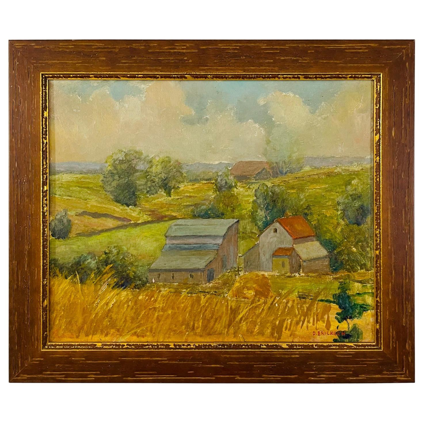 Landscape Oil on Board Painting Signed O.Erickson