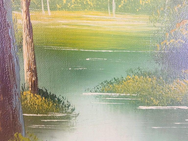 Landscape Oil on Canvas Framed Painting Signed Artist Bowen For Sale 5