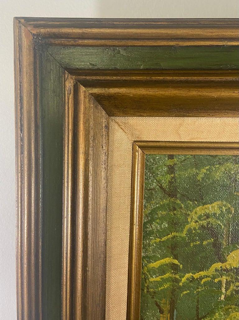 Landscape Oil on Canvas Framed Painting Signed Artist Bowen For Sale 6
