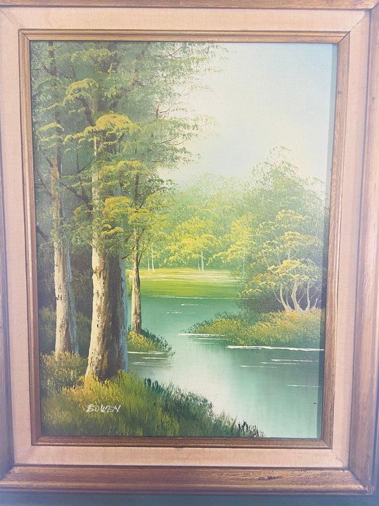 Adirondack Landscape Oil on Canvas Framed Painting Signed Artist Bowen For Sale