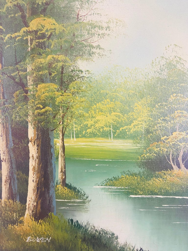 Landscape Oil on Canvas Framed Painting Signed Artist Bowen In Good Condition For Sale In Plainview, NY