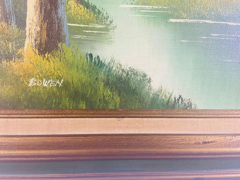 Landscape Oil on Canvas Framed Painting Signed Artist Bowen For Sale 1