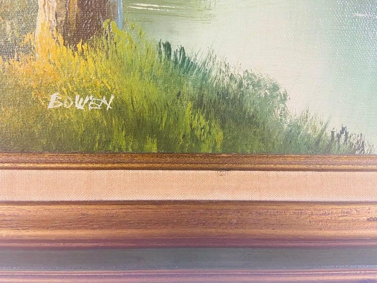 Landscape Oil on Canvas Framed Painting Signed Artist Bowen For Sale 2