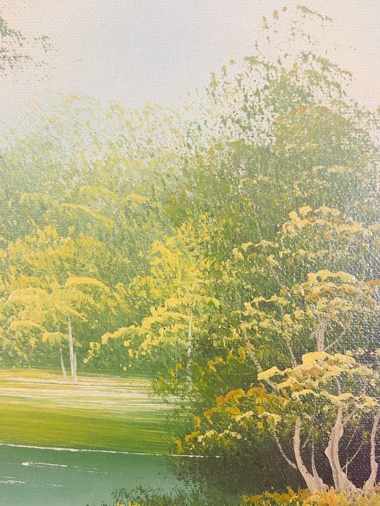 Landscape Oil on Canvas Framed Painting Signed Artist Bowen For Sale 3