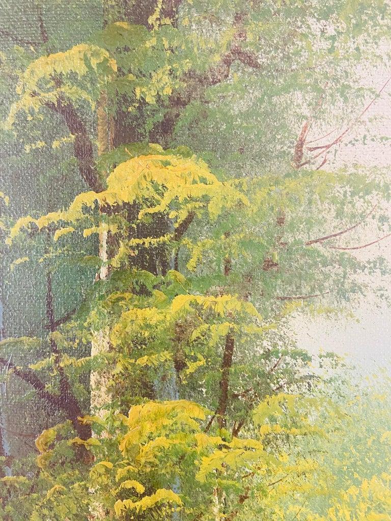 Landscape Oil on Canvas Framed Painting Signed Artist Bowen For Sale 4