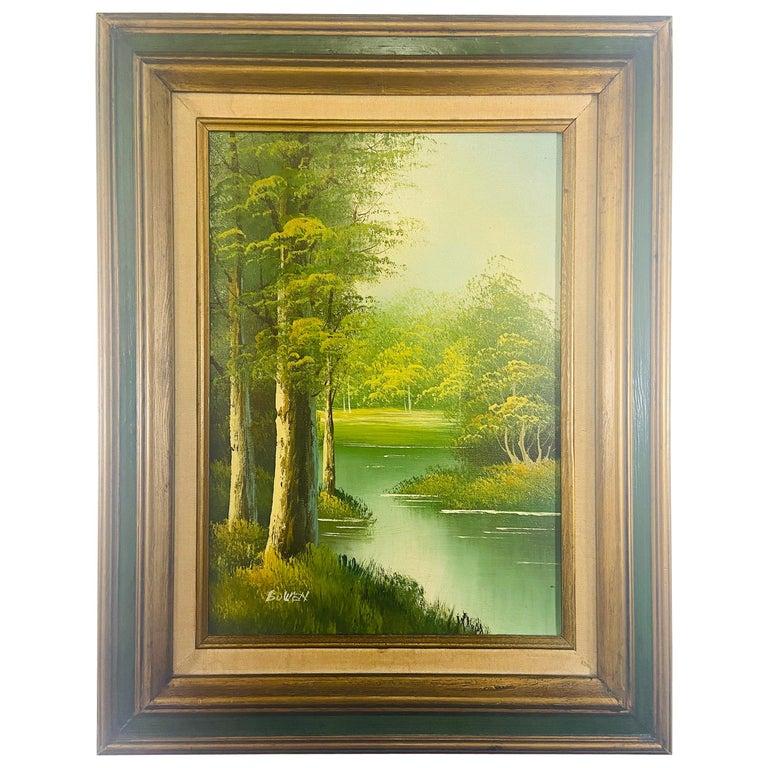 Landscape Oil on Canvas Framed Painting Signed Artist Bowen For Sale