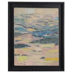 Landscape Oil on Canvas, French Artist Roger Derieux, 1922-2015