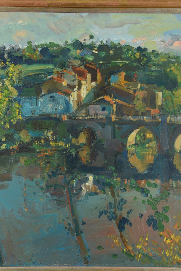 Scenery. Oil on canvas. Signed on the back and in the lower left corner. GRAU SANTOS, Julián (Canfranc, Huesca, 1937-).