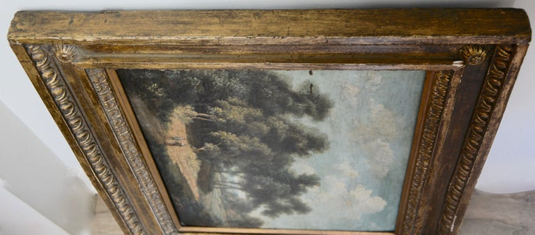 19th Century Landscape Oil on Wood Trees in the Woods by John Kensett For Sale