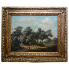 Landscape Oil on Wood Trees in the Woods by John Kensett