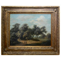 Landscape Oil on Wood Trees in the Woods by John Kensett