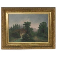 Landscape Oil Painting of a Windmill in a Decorative Gold Frame