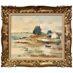 Landscape Oil Painting Original Artist Signed L. Rosan Gilt Frame