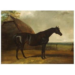 """Landscape Painting of Black Stallion """"Lottery"""" Attr. to Charles Hancock"""
