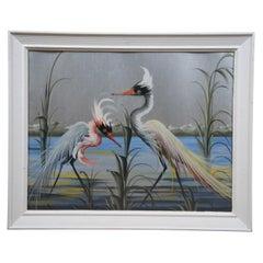 Landscape Painting Portrait of Herons Cranes on Silver Paper Seascape Birds