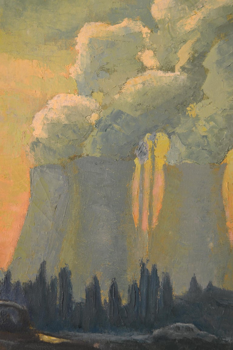 Mid-Century Modern Landscape Painting with Cooling Towers by Sylvia Molloy For Sale