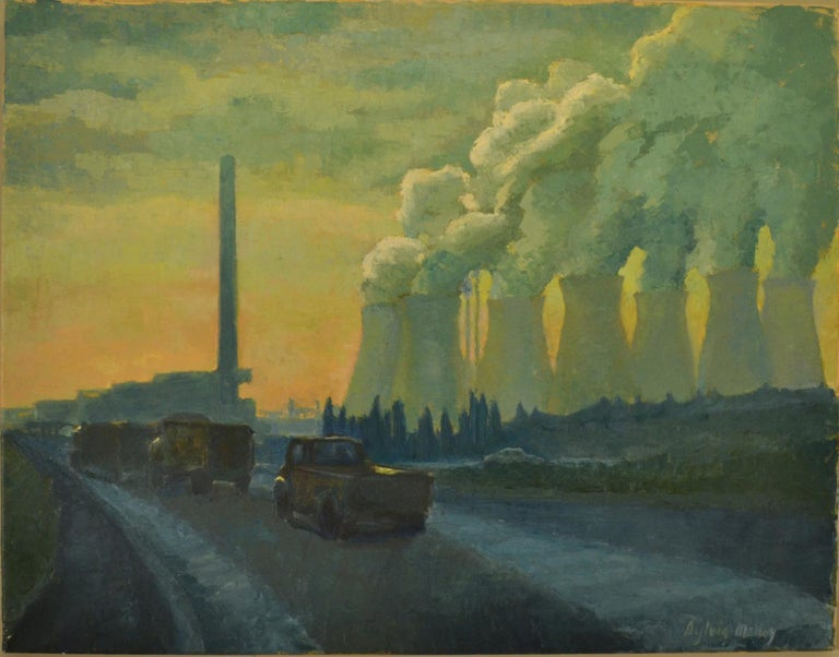 Landscape Painting with Cooling Towers by Sylvia Molloy For Sale 2