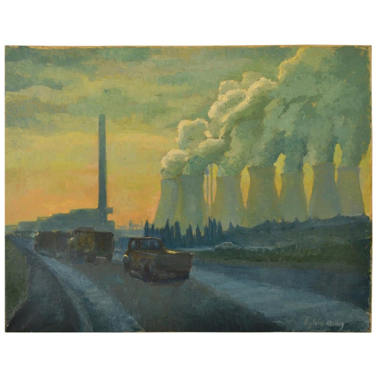 Landscape Painting with Cooling Towers by Sylvia Molloy For Sale