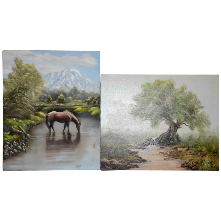 This is a pair of oil paintings on canvas by self-taught artist Nora Alleda Hirano. One depicts an old tree rising on a short rocky mound as a narrow brook passes through the misty landscape. The other depicts a brown horse drinking from a stream in