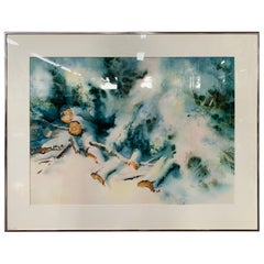 Landscape Snowy Winter Scene Water Color Signed Artist Phil Metzger and Framed