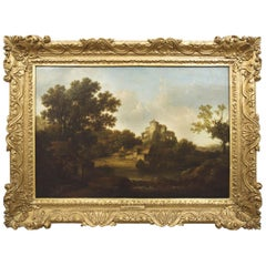 """""""Landscape w/ Castle Ruins"""" Antique English Painting by George Smith"""