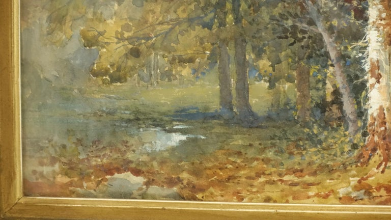 Gilt Landscape Watercolor Painting Signed L Douglas, American, Early 20th Century For Sale