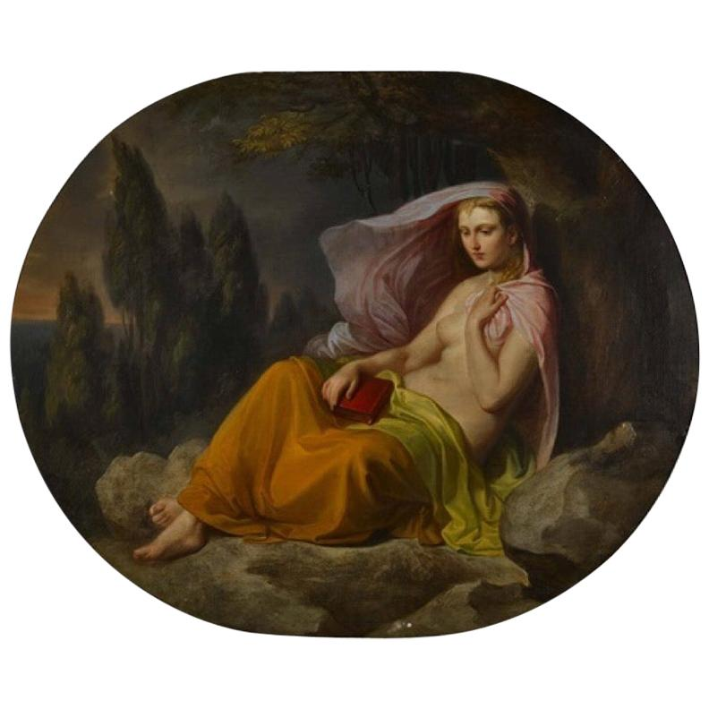 """Landscape with a Semi-Nude"" Oil on Canvas, Cesare Dies, 1852"