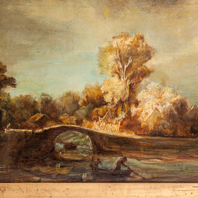 An elaborate an historical (mid-19th Century) copy of a famous painting 'Landscape with a Stone Bridge' by Rembrandt van Rijn'sone. One of the most recognisable landscapes of 17th century art.