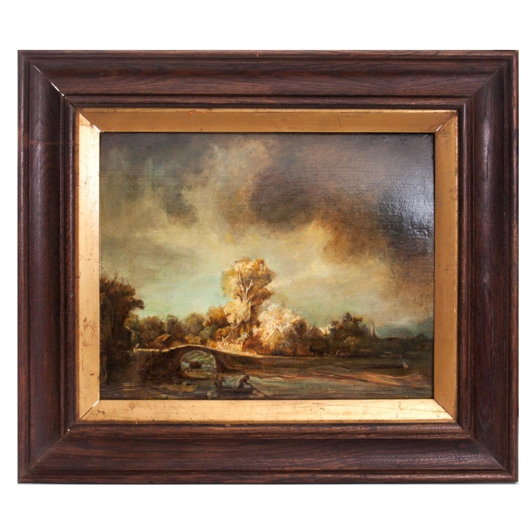 Landscape with a Stone Bridge Unknown Rembrandt Copy Oil on Board Wooden Frame  For Sale