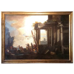 Landscape with Architecture and Ruins, Follower of G Ghisolfi Oil, Italian