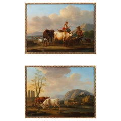 """""""Landscapes with Cows"""", Pair of Oil on Panel, Signed Dieboldt"""