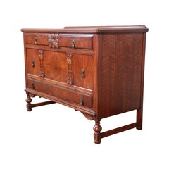 Landstrom Furniture French Carved Burled Walnut Dresser, circa 1940s