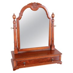 Landstrom Furniture French Carved Burled Walnut Dresser Top Swing Mirror, 1940s