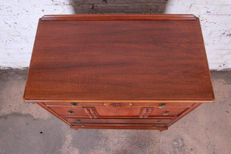Landstrom Furniture French Carved Burled Walnut Highboy Dresser, circa 1940s For Sale 3