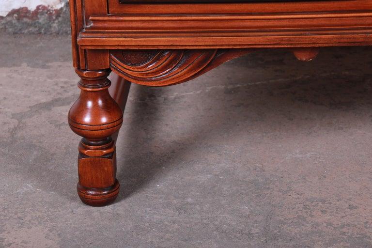 Landstrom Furniture French Carved Burled Walnut Highboy Dresser, circa 1940s For Sale 4
