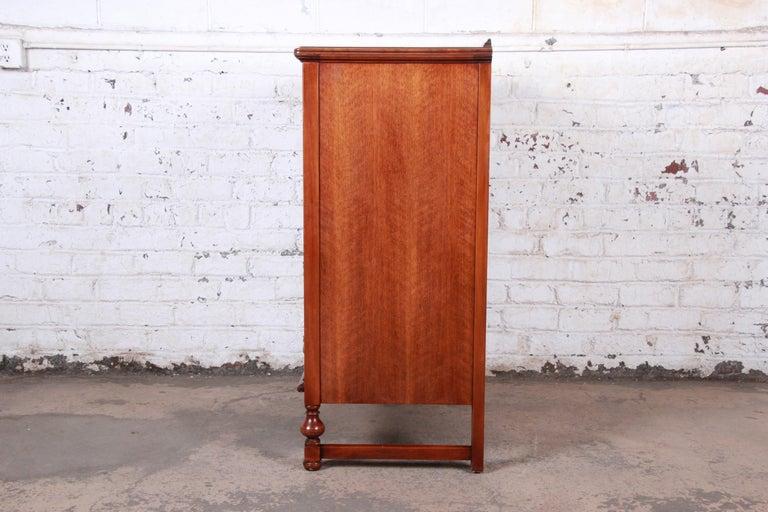 Landstrom Furniture French Carved Burled Walnut Highboy Dresser, circa 1940s For Sale 5